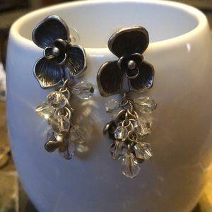 Antique Gardena floral dangle stone earrings